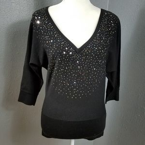 WHBM S Sweater V Neck Stud Sequins New Fitted